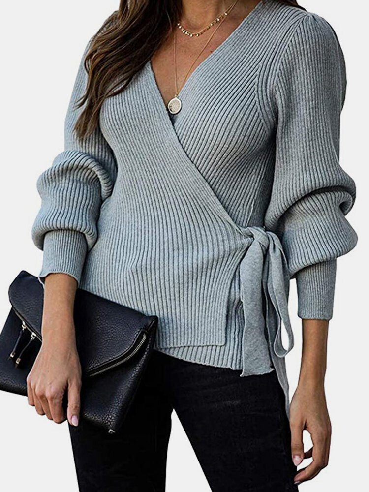 Cross Wrap Solid Color Long Sleeve Bandage Sweater For Women