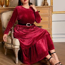 Plus Layered Hem Rib-knit Velvet Dress Without Belt
