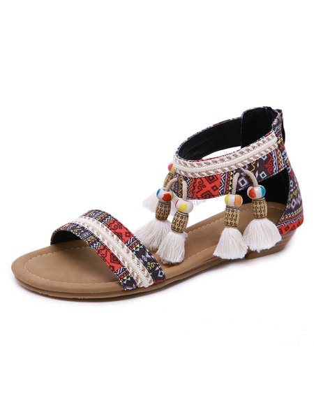 Milanoo Flat Sandals For Woman Knitted Flat Artwork PU Leather Earthy