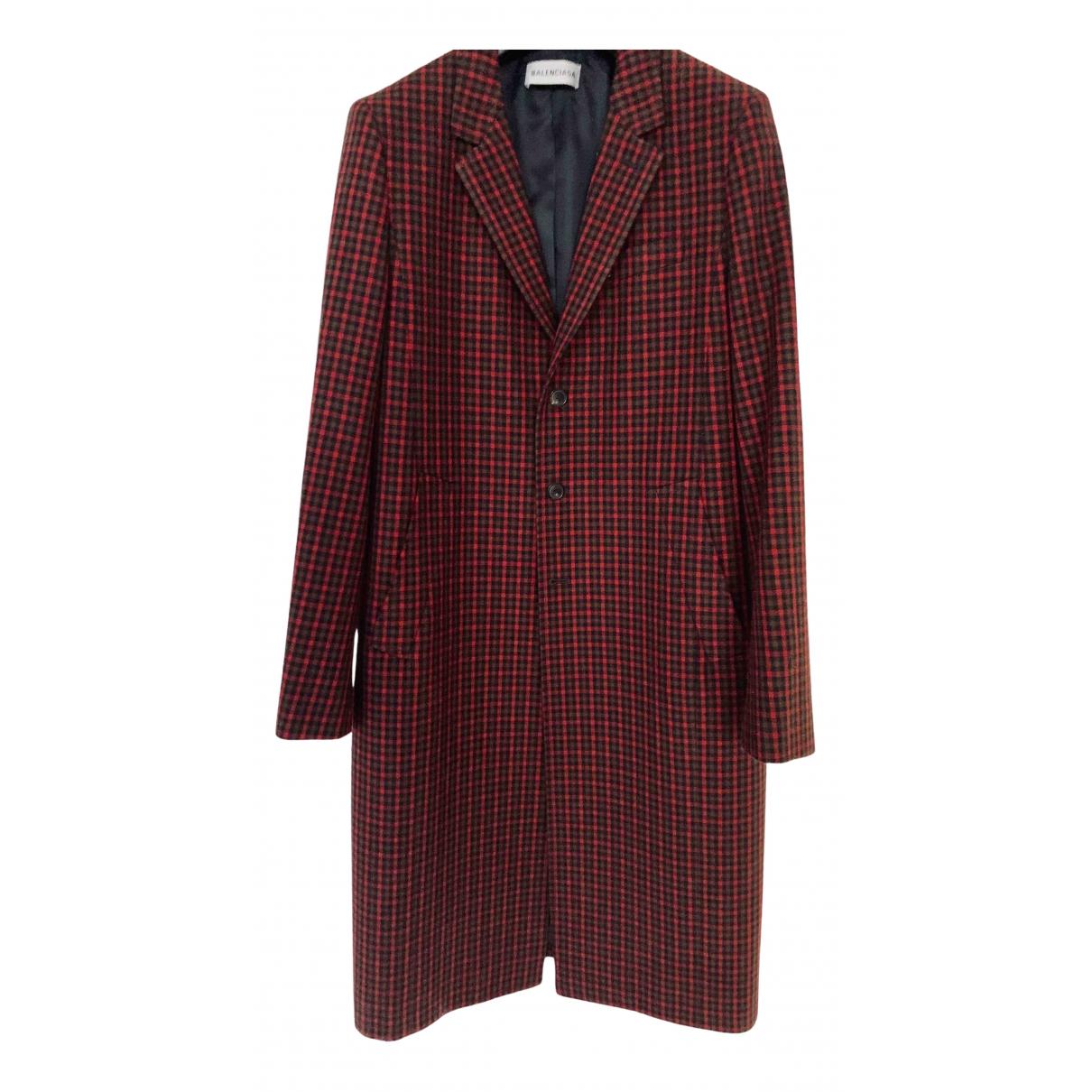 Balenciaga - Manteau   pour femme en laine - bordeaux