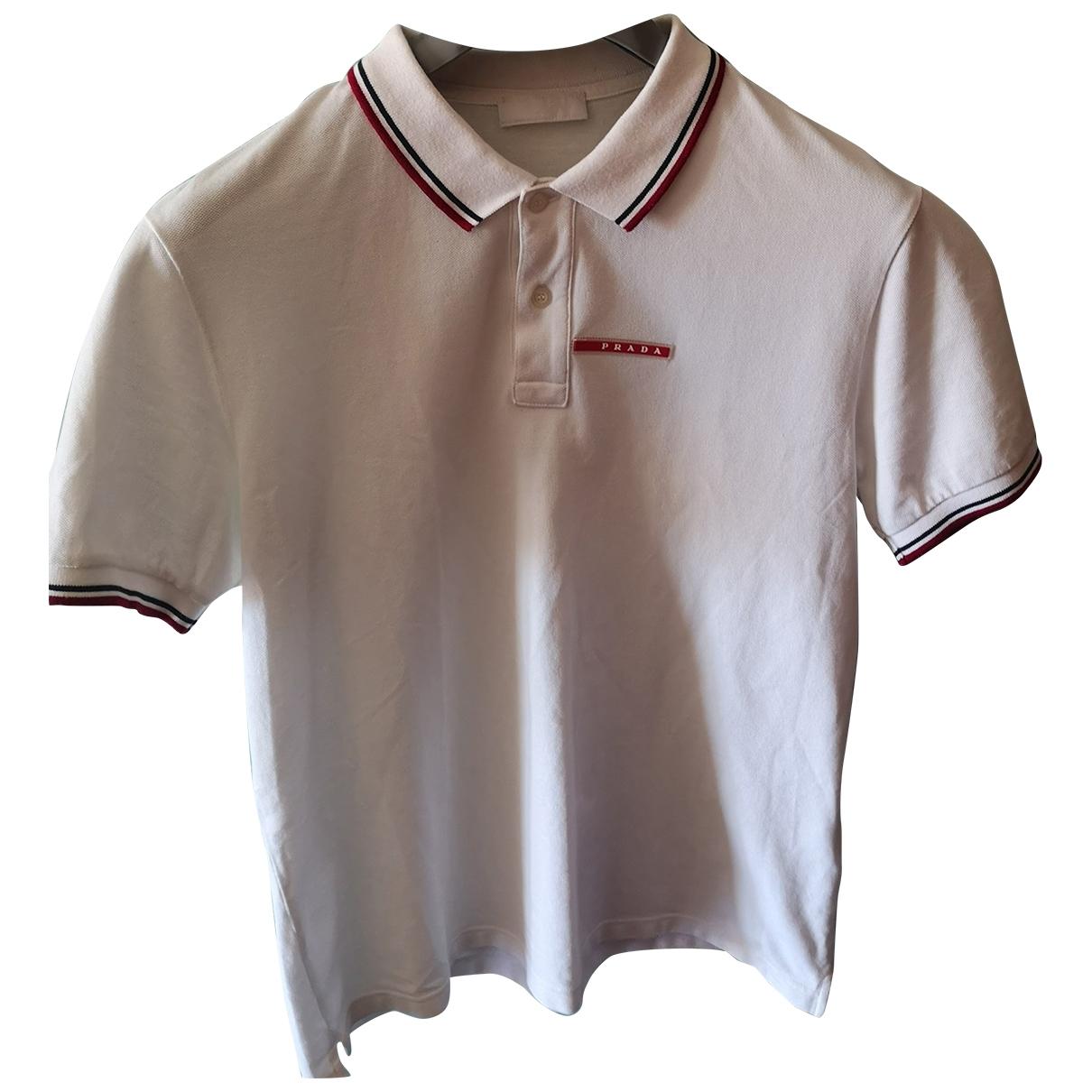 Prada - Polos   pour homme en coton - blanc