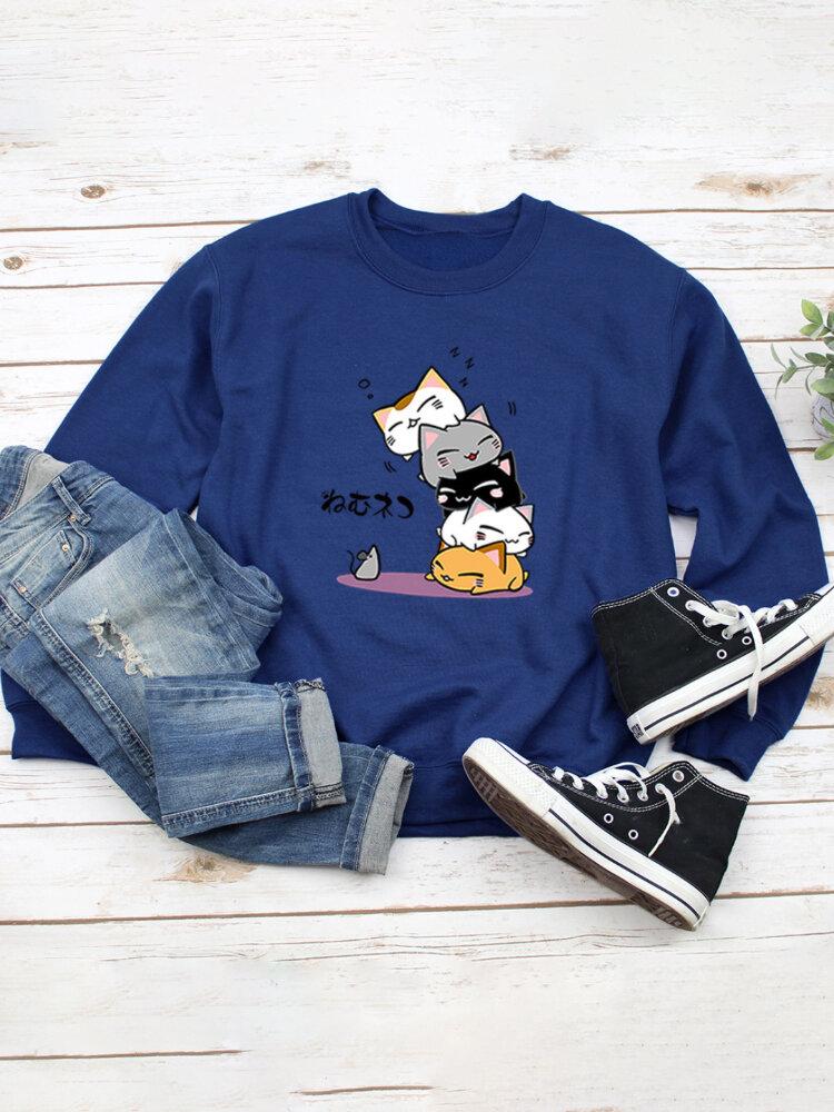 Cat Print O-neck Long Sleeves Casual Sweatshirt