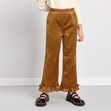 Pantalones de terciopelo bajo con fruncido