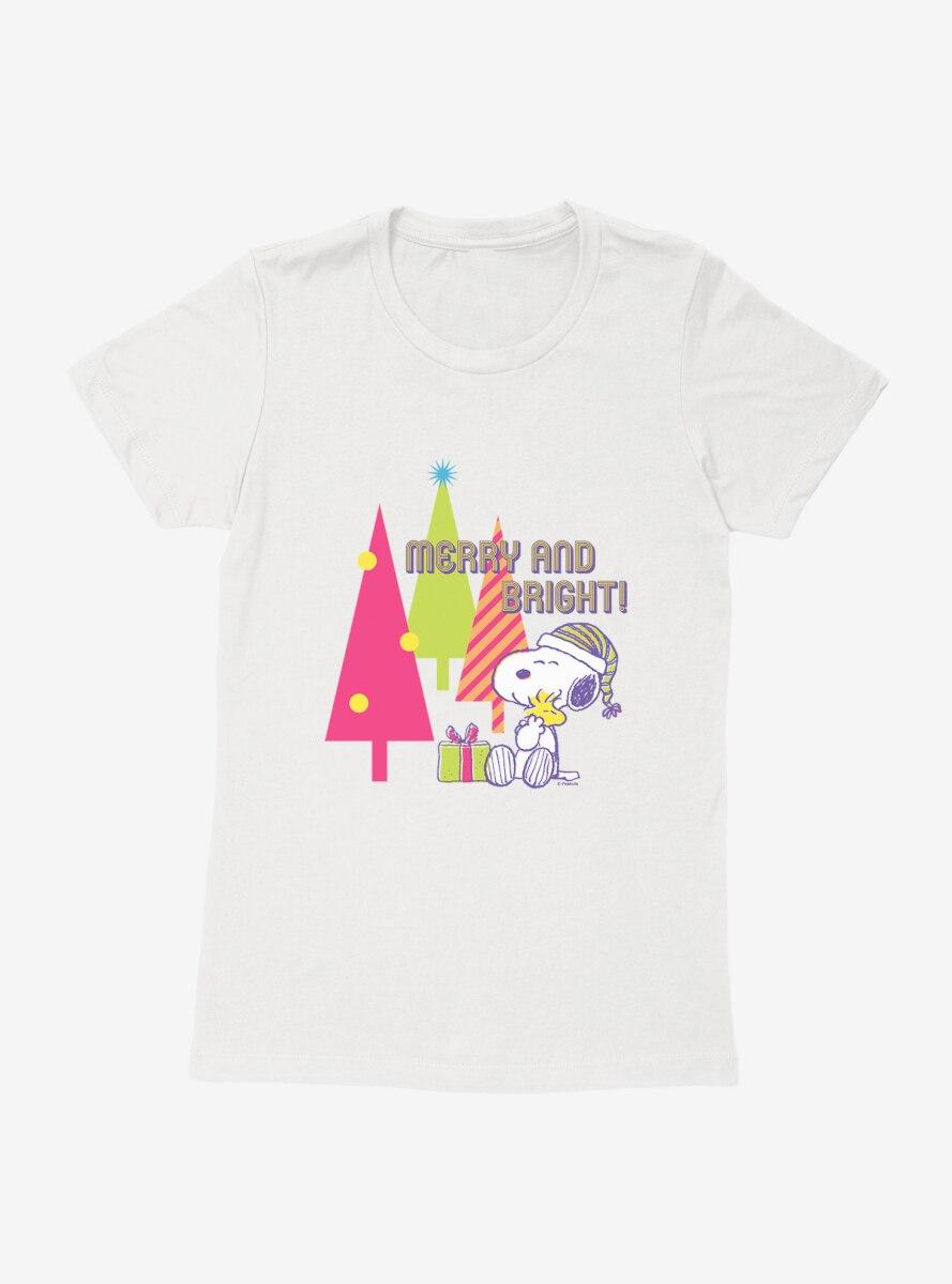Peanuts Retro Pop Merry And Bright Hug Womens T-Shirt