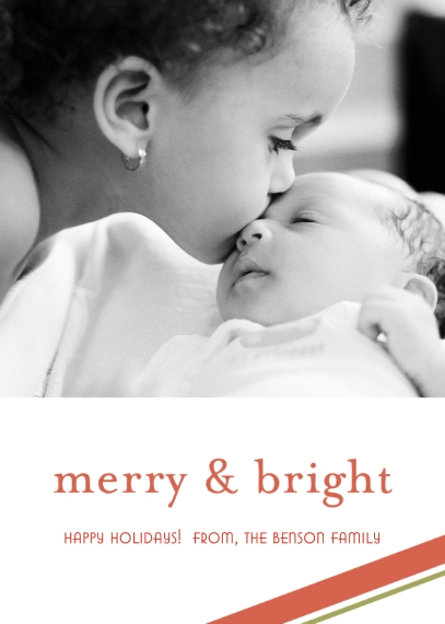 Christmas Photo Cards 5x7 Folded Cards, Premium Cardstock 120lb, Card & Stationery -Merry & Bright Holiday