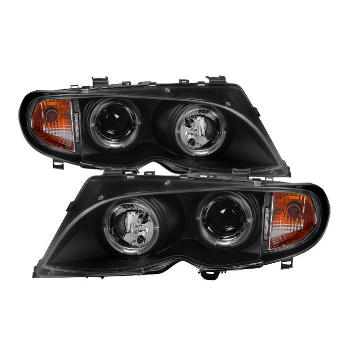 Spyder Auto PRO-YD-BMWE4602-4D-AM-BK 1PC Black LED Halo Projector Headlights with High H1 and Low H7 Lights Included BMW E46 318d 4Dr 02-05