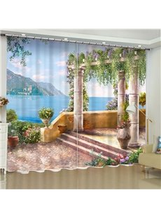 Peaceful Lake and Delicate Flowers Pavilion Printed 2 Panels Blackout Grommet Top Curtain