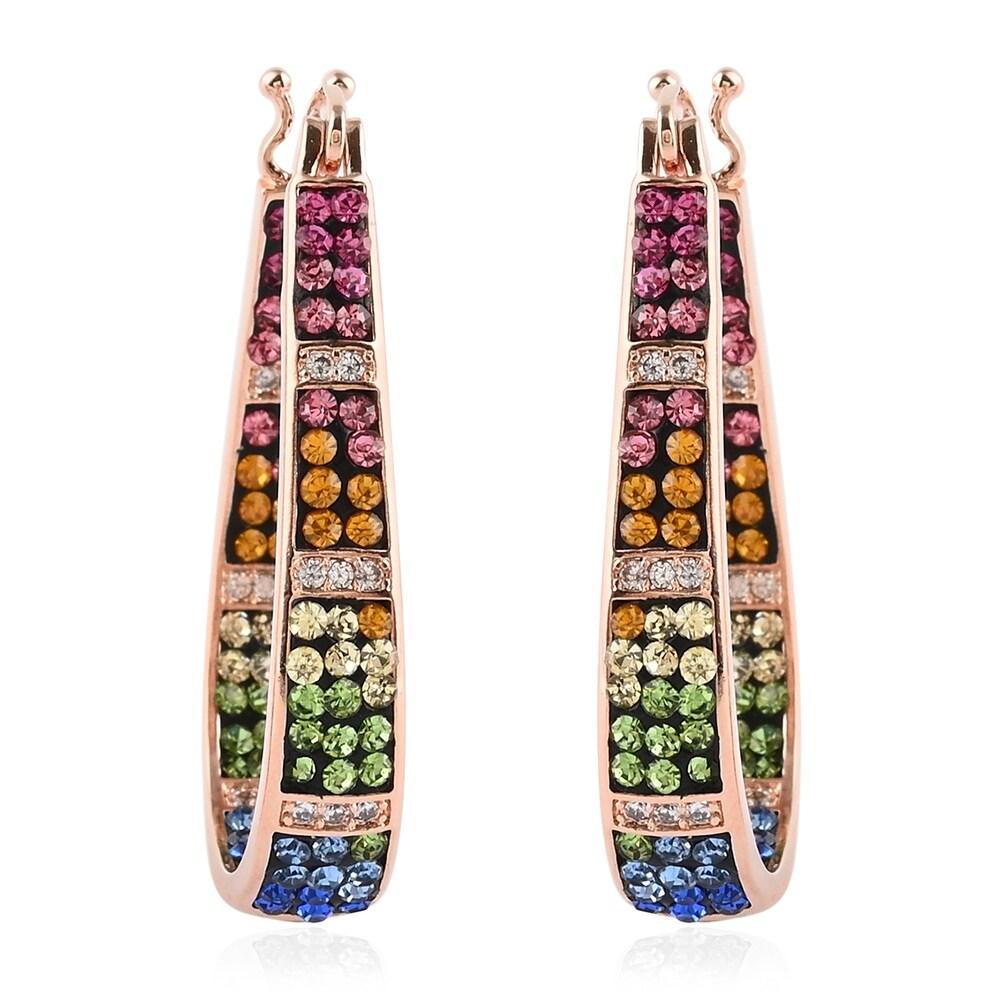 Rosetone Multi Color Crystal Hoops Hoop Earrings (Multi - Yellow)