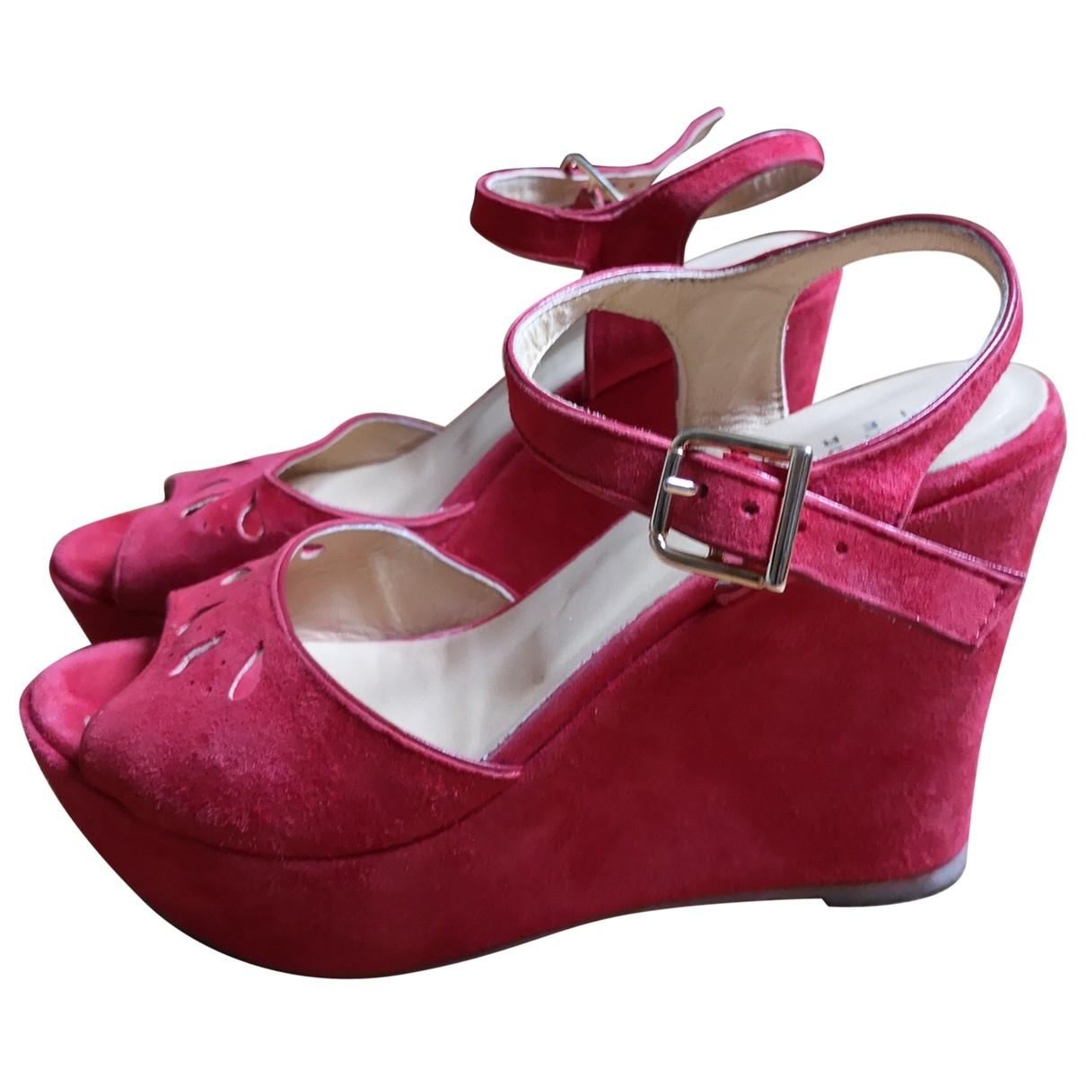 Claudie Pierlot \N Red Suede Sandals for Women 39 EU