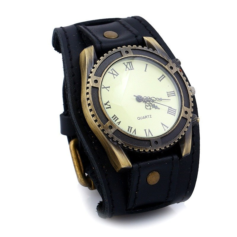 Vintange Punk Men Watch Leather Bracelet Watch Retro Style Quartz Watch For Men