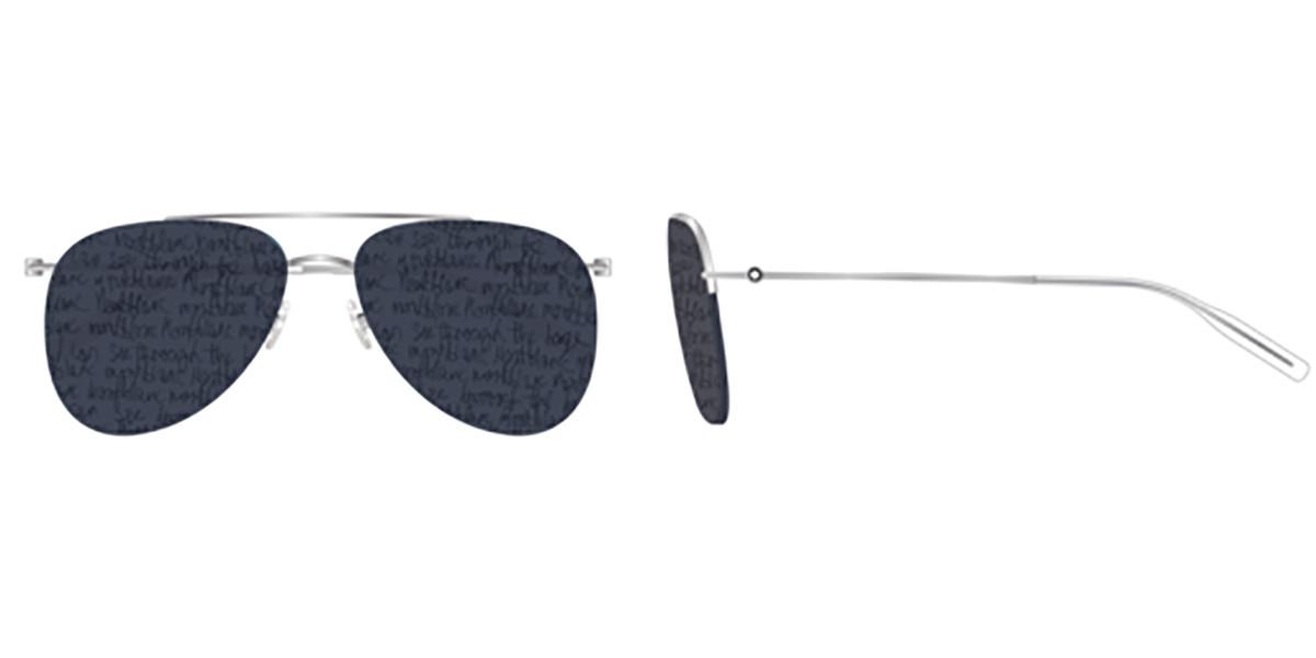 Mont Blanc MB0074S 006 Men's Sunglasses Silver Size 59