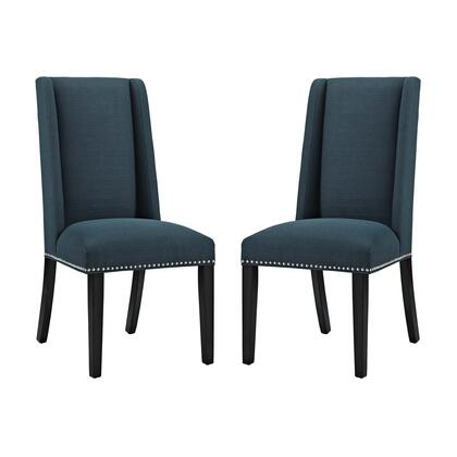 Baron Collection EEI-2748-AZU-SET Set of 2 Dining Chairs with Dense Foam Padding  Non-Marking Foot Caps  Polished Nailhead Trim  Solid Rubberwood