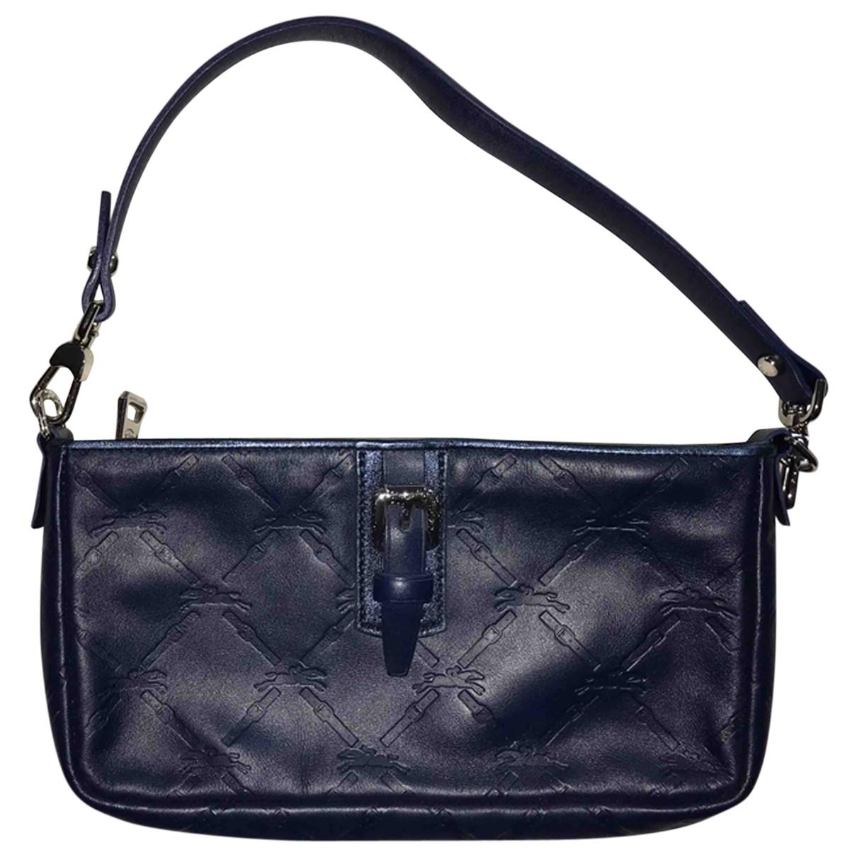 Longchamp - Pochette   pour femme en cuir - bleu