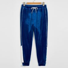 Guys Patched Detail Contrast Tipping Velvet Pants