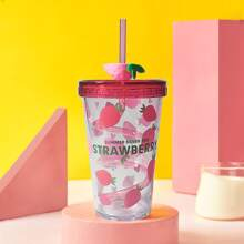 Strawberry Print Straw Cup