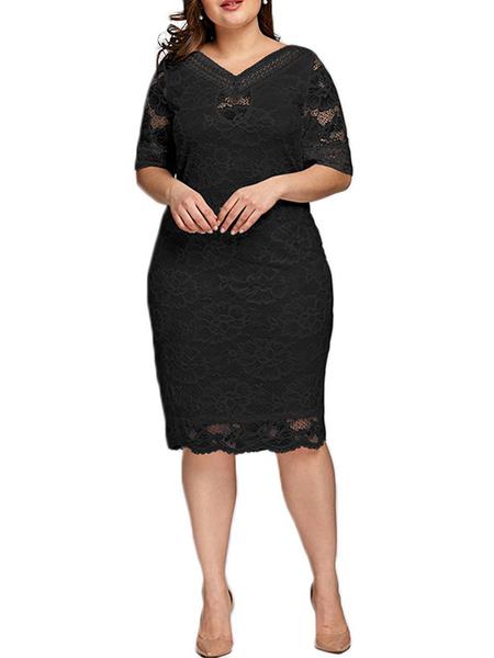 Milanoo Plus Size Lace Dress For Women White V Neck Bodycon Dress