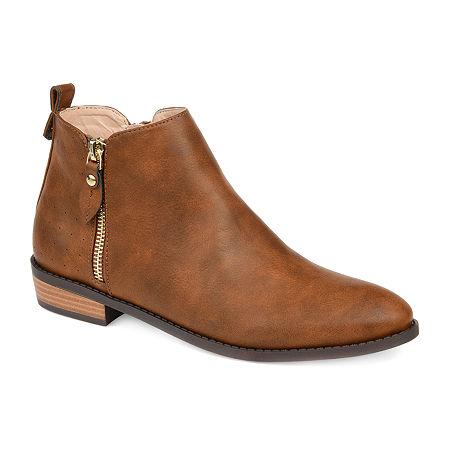 Journee Collection Womens Ellis Stacked Heel Booties, 9 Medium, Brown