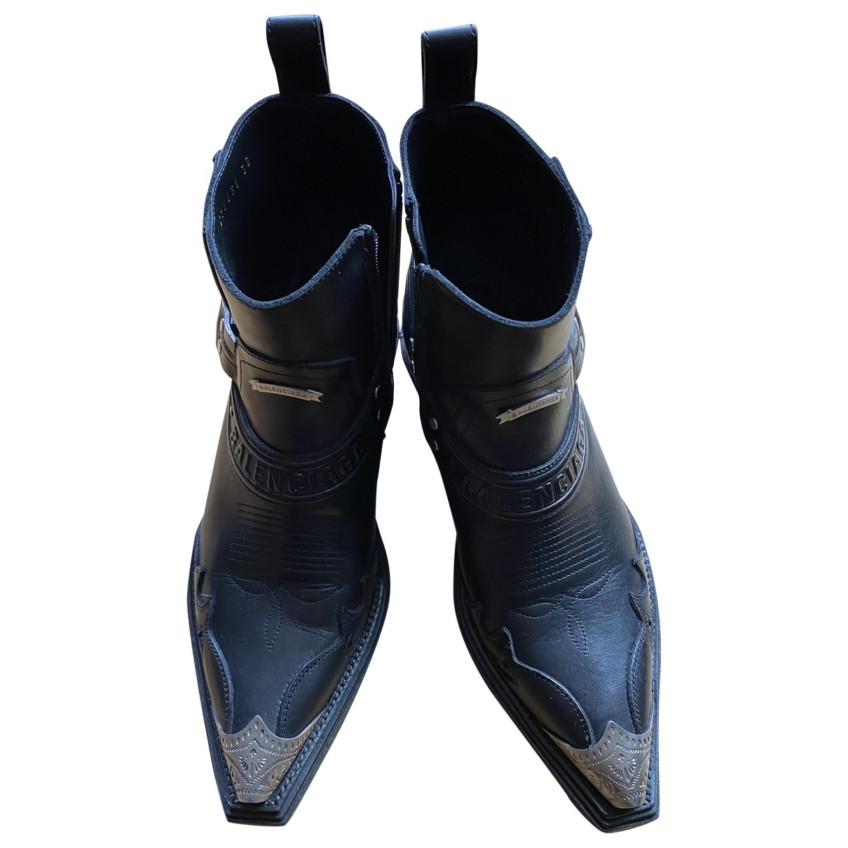 Balenciaga \N Black Leather Boots for Women 38 EU