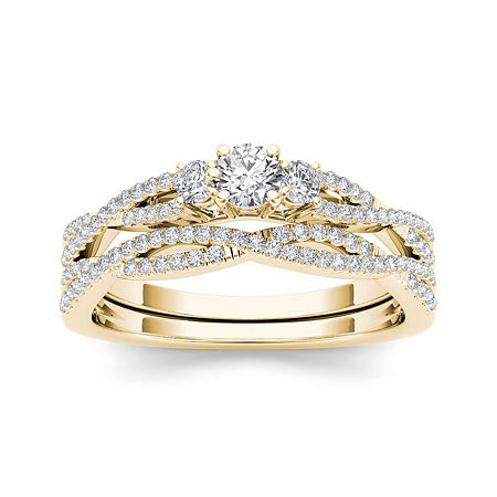 1/2 CT. T.W. Diamond 14K Yellow Gold Crossover Bridal Ring Set, 6 1/2 , No Color Family