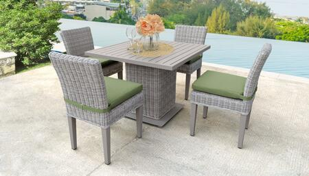 Coast Collection COAST-SQUARE-KIT-4ADCC-CILANTRO Patio Dining Set with 1 Table   4 Side Chairs - Beige and Cilantro