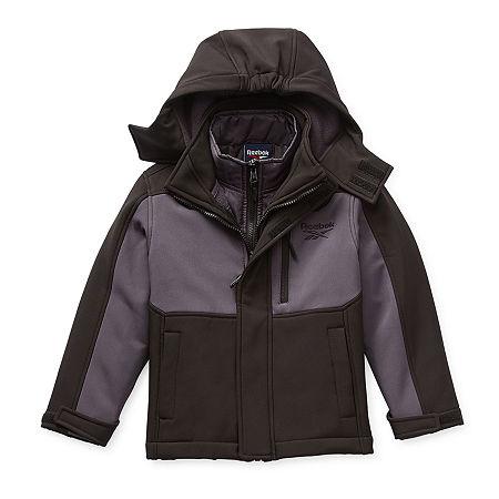 Reebok Boys Hooded Water Resistant Heavyweight 3-In-1 System Jacket, Xx-small (4-5) , Black