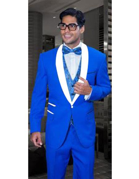 Mens 1 Button Single Breasted Modern Fit Blue&White Lapel Tuxedo Suit