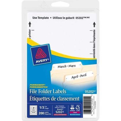 Avery@ Laser/Inkjet File Folder Labels - White, For printing of handwriting, 3-1/2 x 5/8