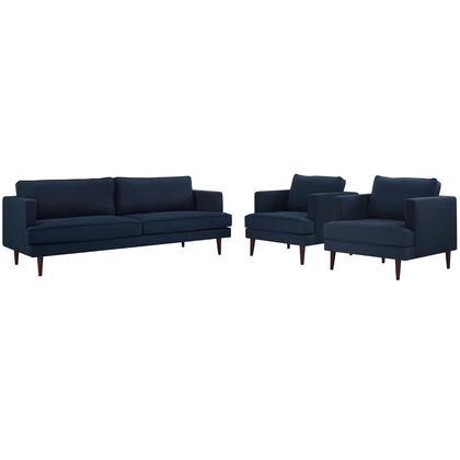 Agile Collection EEI-4081-BLU-SET 3 Piece Sofa and Armchair Set with Walnut-Stained Tapered Legs  Non-Marking Foot Caps  Removable Zippered Cushion