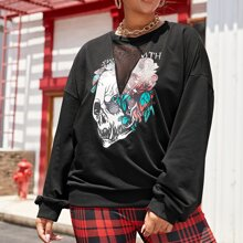 Plus Skull And Letter Graphic Contrast Mesh Sweatshirt
