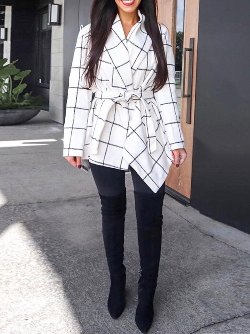 Ericdress A Line Lace-Up Regular Plaid Mid-Length Overcoat