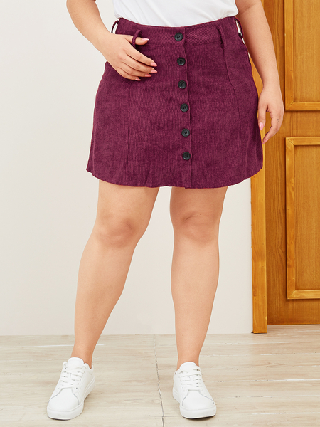 Yoins Plus Size Red Front Button Corduroy Skirt