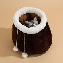Katze Hohle mit Farbblock, Pompon Dekor und Kordelzug