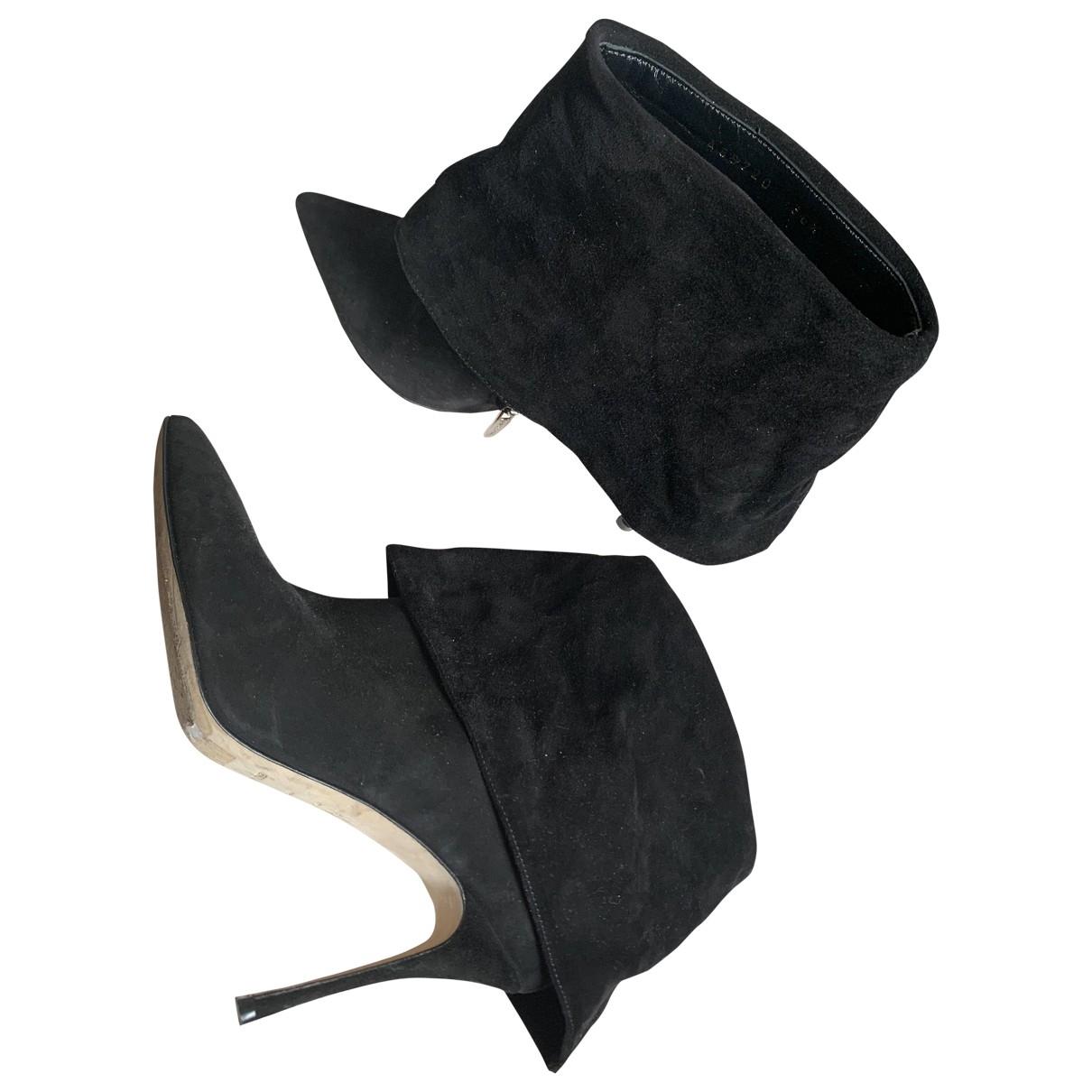 Sergio Rossi - Bottes   pour femme en velours - noir
