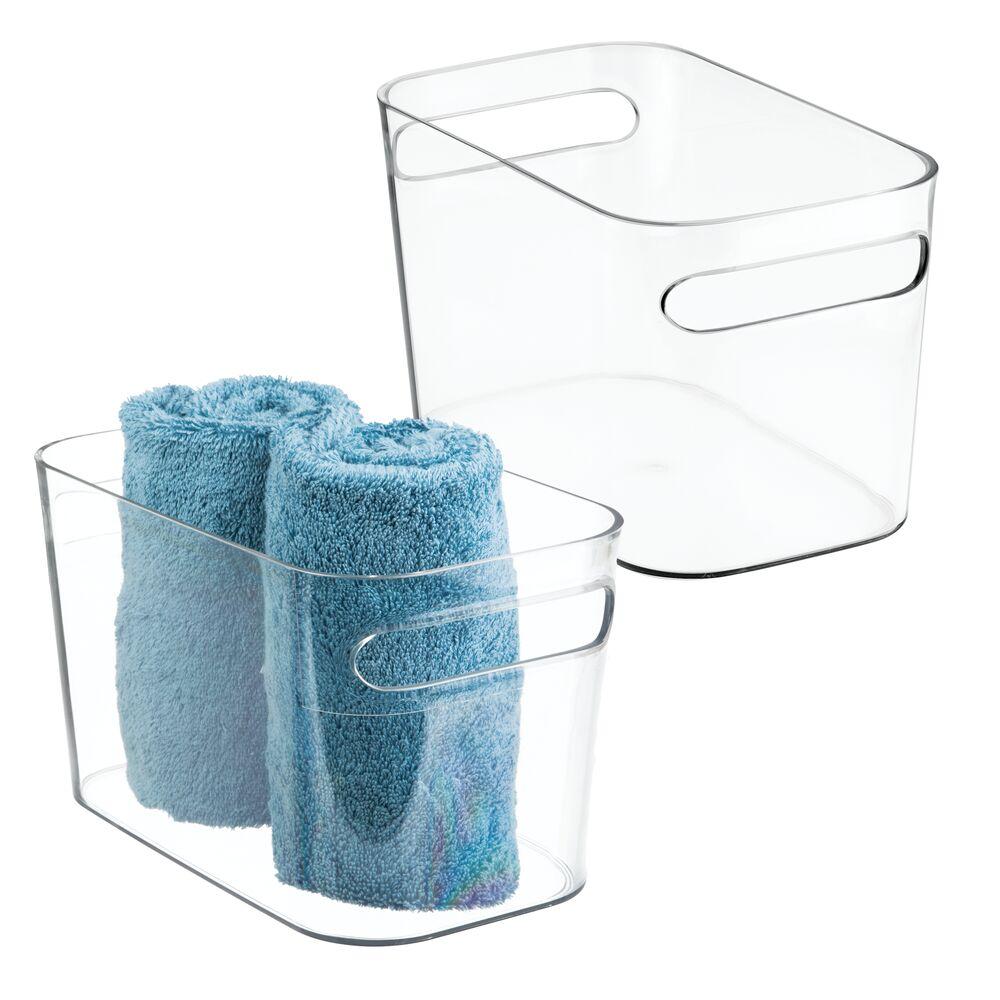 Plastic Bathroom Vanity Storage Organizer Tote Bin in Clear, 10