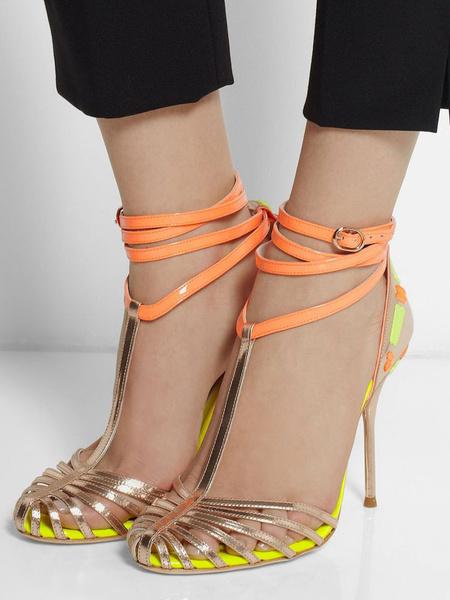 Milanoo sandalias con tacones altos de mujer zapatos de punta redonda de color oro sandalias con tirantes a todillo