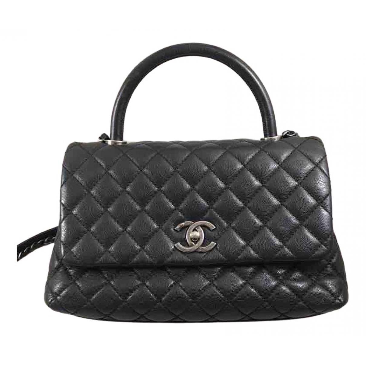 Chanel - Sac a main Coco Handle pour femme en cuir - noir