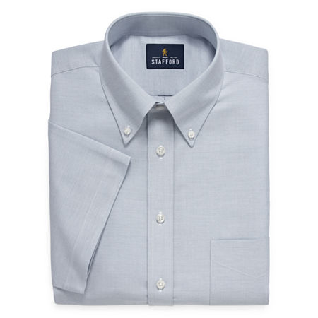 Stafford Travel Wrinkle Free Stretch Oxford Short Sleeve Button Down Collar Big And Tall Mens Dress Shirt, 16.5 , Blue