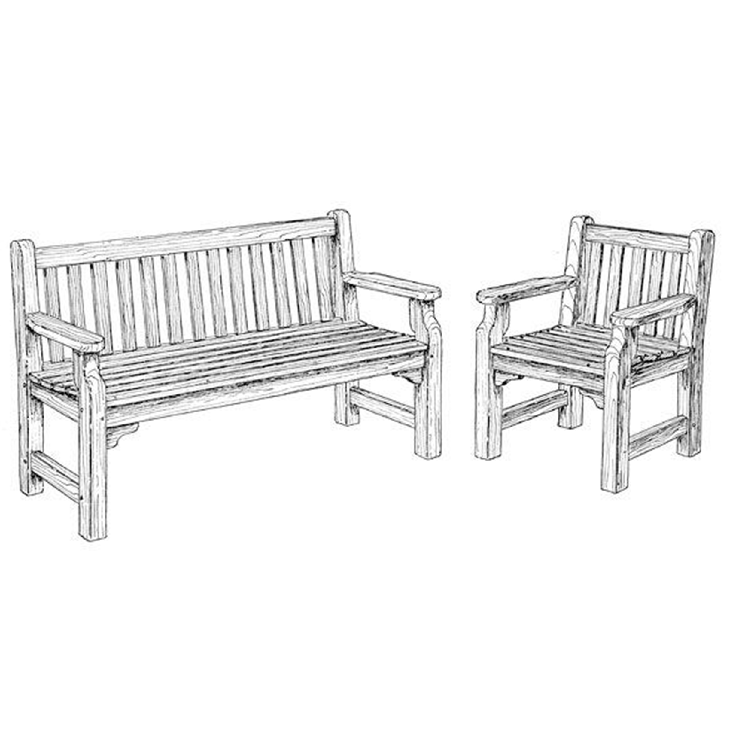 Woodworking Project Paper Plan to Build English Garden Bench and Chair