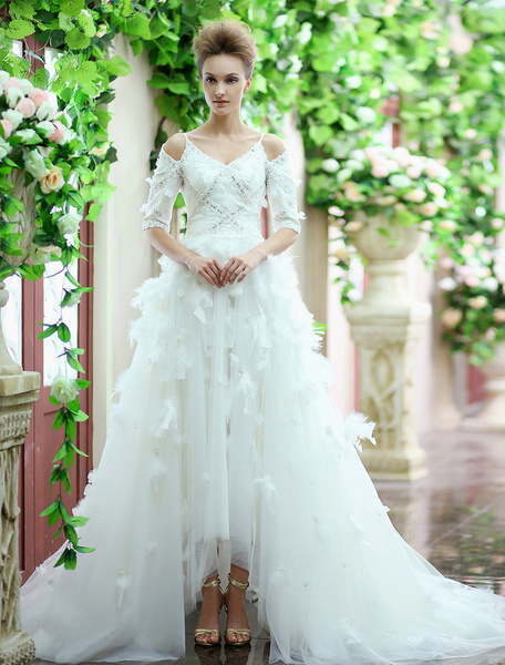Milanoo Ivory A-line Spaghetti Straps Sequin Tulle Court Train Wedding Gown