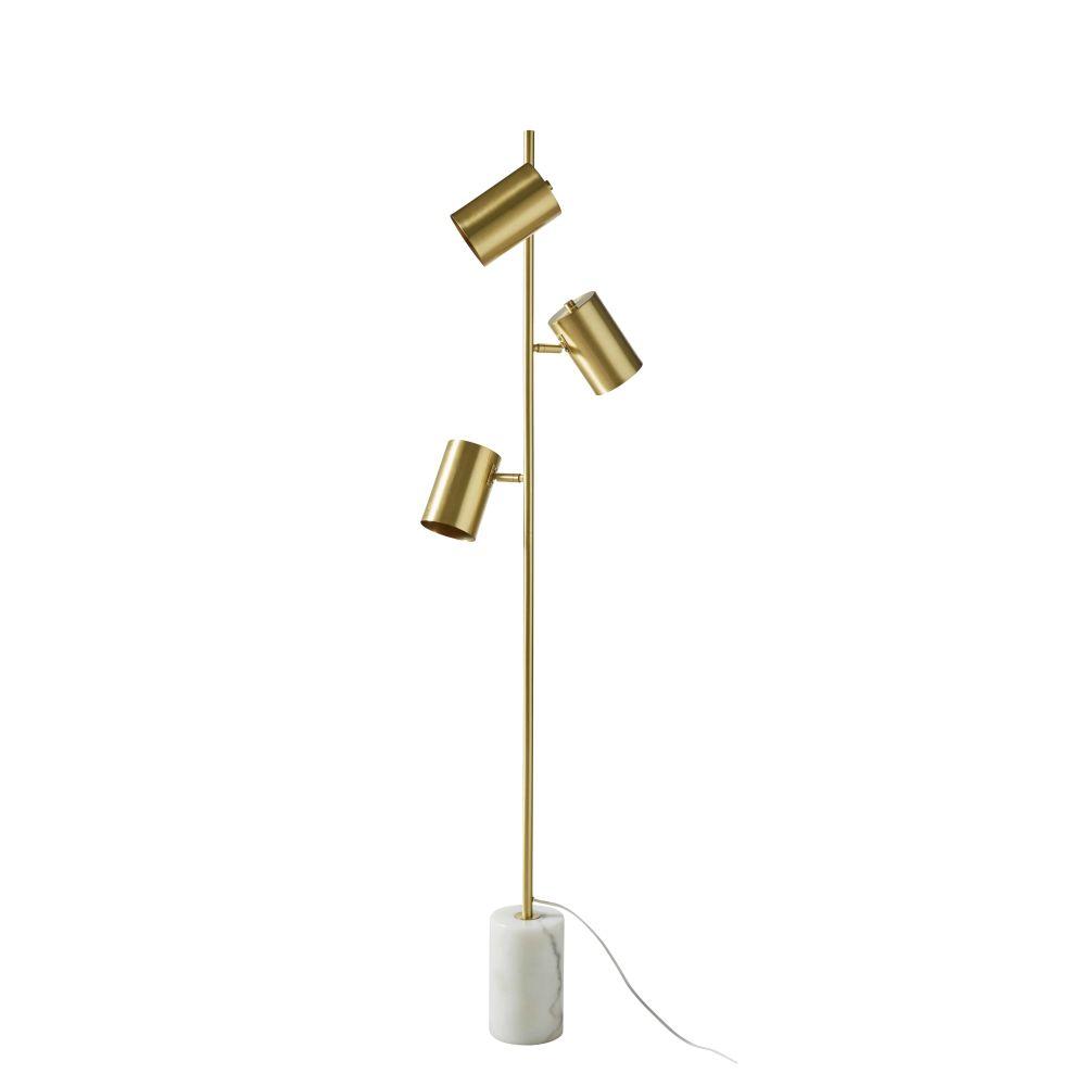 Stehlampe aus goldenem Metall und weissem Marmor H156
