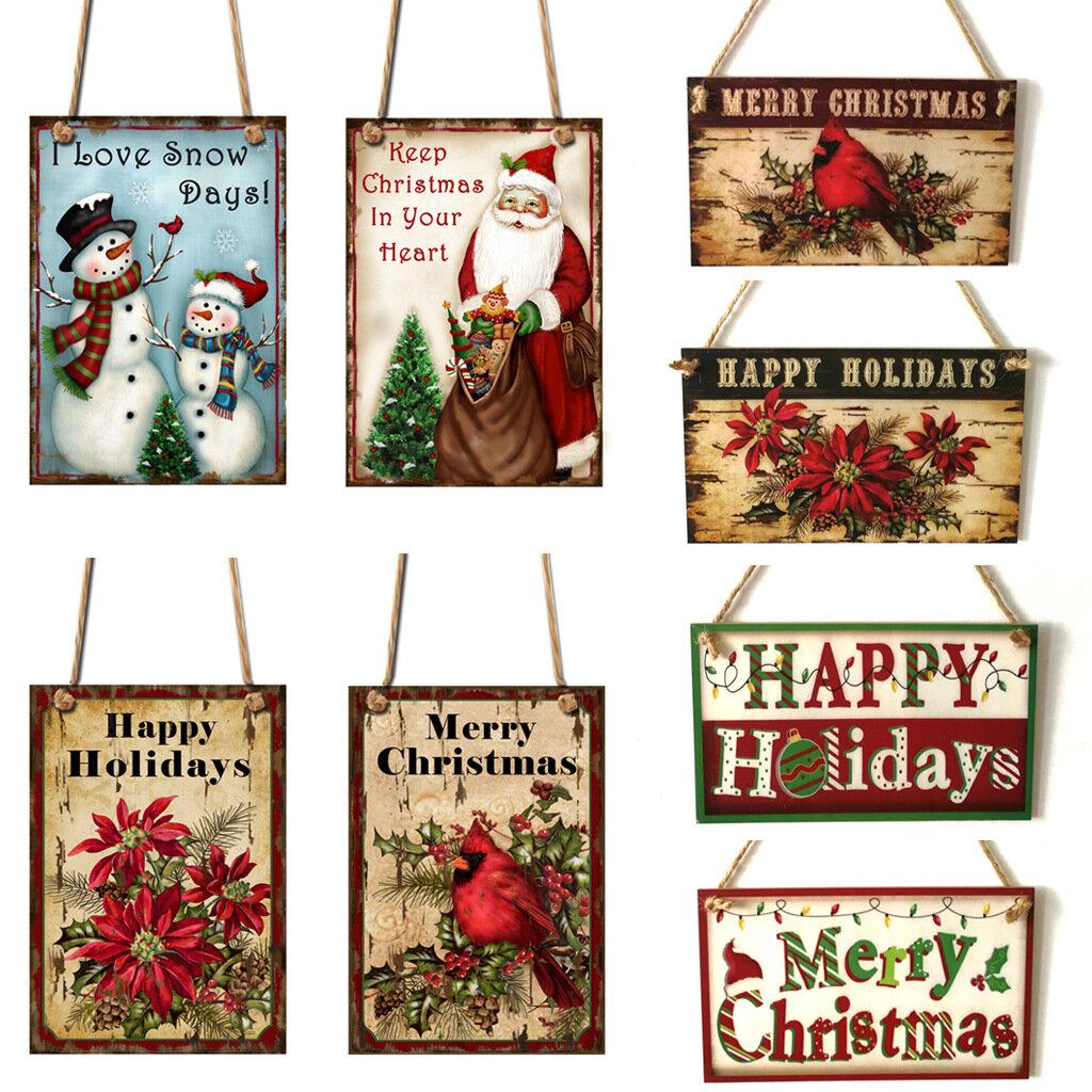 1Pcs Christmas Door Hanging Painting Board Sata Claus Snowman Merry Christmas DIY House Wall Decor Party Supplies