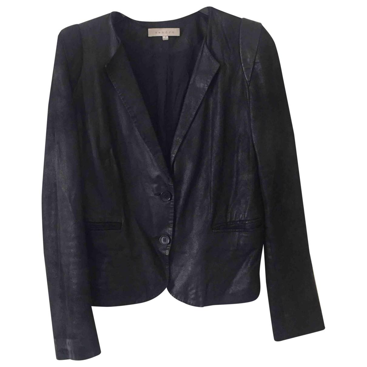 Sandro - Blouson   pour femme en cuir - noir