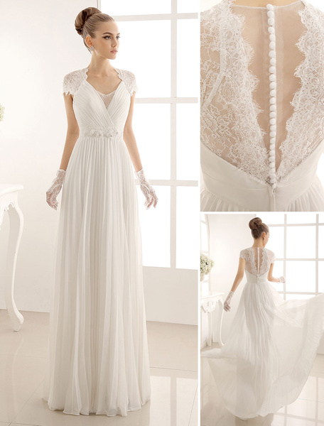 Milanoo V-Neck Wedding Dress With Lace In Floor Length