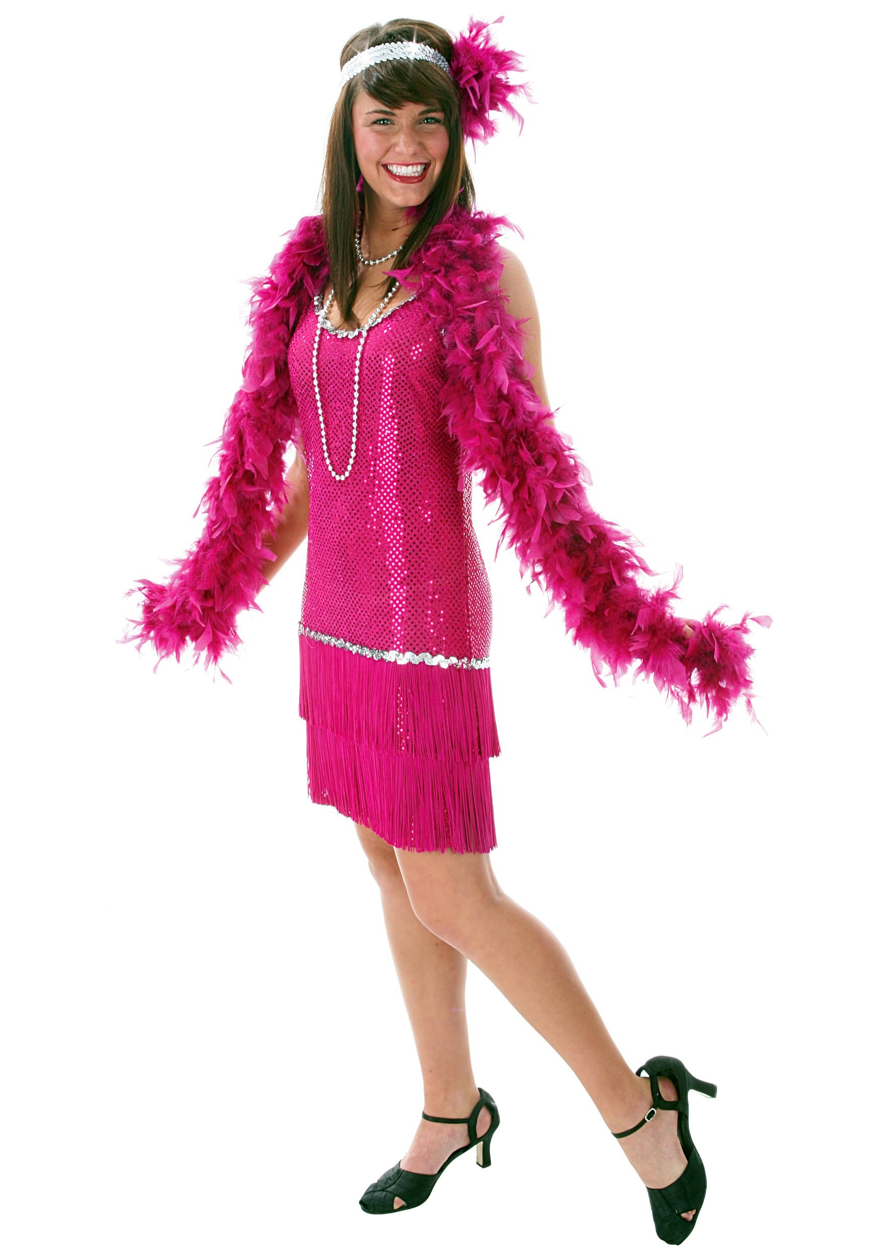 Fringe Fuchsia Flapper Dress Costume