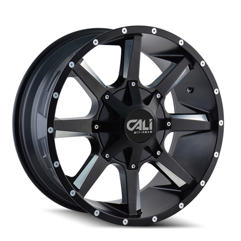 Cali Off-Road 9100-2937M18 Busted 9100 Satin Black | Milled Spokes 20x9 6x135 | 6x139.7 18mm 108.0mm Wheel