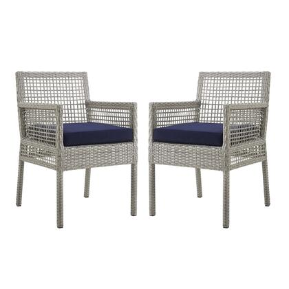 Aura Collection EEI-3561-GRY-NAV Set of 2 Outdoor Patio Dining Armchairs with Powder Coated Aluminum Frame  Grey Synthetic Wicker Rattan  Water