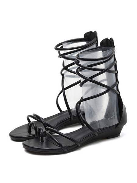Milanoo Black Gladiator Sandals Flat Strappy Sandal Boots For Women