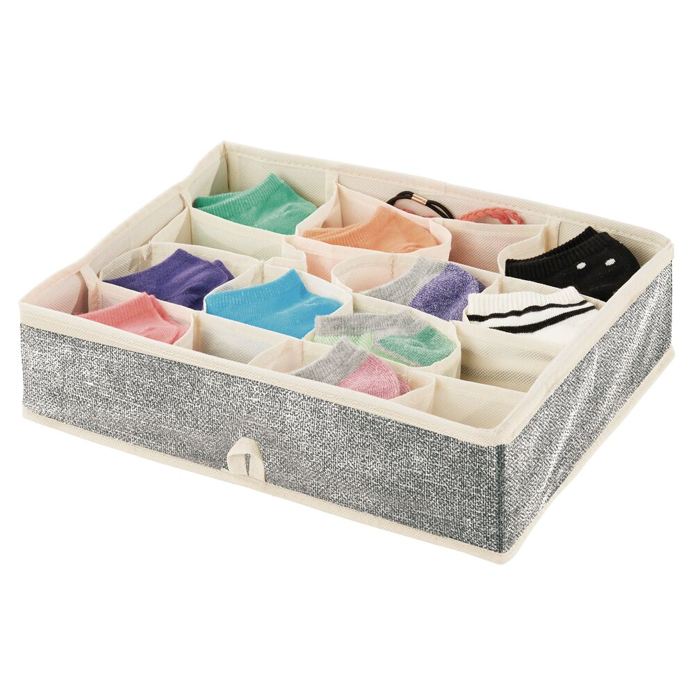 16 Compartment Fabric Divided Drawer Organizer in Black/Cream, 13.75