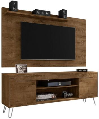 Baxter and Liberty Collection 221-217BMC9 Set of 2 Entertainment Centers with 2 Handleless Doors  3 Media Shelves  Splayed Wire Metal Legs and Medium