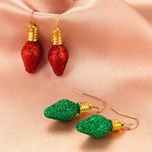 2pairs Christmas Ornament Bubble Drop Earrings